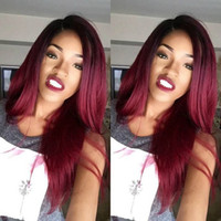 Wholesale European Two Tone Hair - 1bT99j Ombre Human Hair Full Lace Wig Straight Burgundy Two Tone 1B 99J Glueless Lace Front Full Lace Wigs Ombre Virgin Hair Wig
