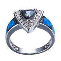 Mystery Rainbow Ring Women Blu Fire Opal Ring Fashion White Gold Filled Jewelry Anelli di nozze vintage per le donne
