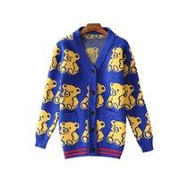 Wholesale V Bearings - Wholesale- 2017 Autumn Winter Women Sweater Knitted Cardigan New Fashion Long Sleeve V-Neck Bear Printing Women Sweaters
