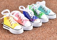 Wholesale Mini Tennis Keychain - Mini 3D sneaker keychain canvas shoes key ring Tennis Shoe Chucks Keychain Favors