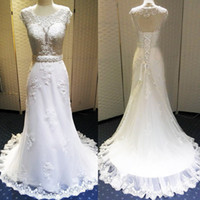 Wholesale Inexpensive Wedding Dresses Sleeves - Inexpensive Wedding Dresses Made In China 2016 Mermaid Lace Appliques Bridal Gown Open Back Lace Up Tulle Sweep Train Cheap Vestido De Novia