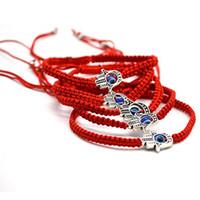 Wholesale Evil Eye Amulets - Fashion Hamsa Red Silver Bracelet Evil Eye Charm Hand Weave Hand Of Fatima Amulet Red Cord String Bangles