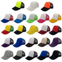 Wholesale Blank Panels Cap - 30Colors Fashion Men's Women's Trucker Mesh Hats Baseball Cap Blank Caps Adult 5 Panels Snapbacks Adjustable Caps Accept Custom Made Logo