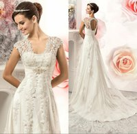 Wholesale Cheap Corset Back Wedding Dresses - 2017 Vintage Lace Country Wedding Dresses Gowns Cheap V-neck Cap Sleeves Beads Corset Back A Line Plus Size Tulle Bride Bridal Gowns