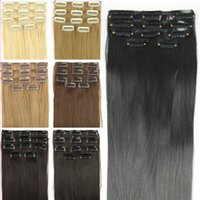 Wholesale European Clip Remy Hair - New 5pieces set Clip In Women Straight Synthetic Hair Brazilian Hair with Closure Perucas Blone Brown Black Hair Extension Free Shipping
