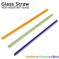 Wholesale Pre Green - GLASS drinking straw 3pcs pre box amber blue green 8mm dia 20cm length olor Drinking Glass Straws For Kitchen Barware