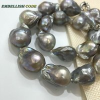 Wholesale Gray Pearl Beaded Necklace - low price grey gray color baroque keshi plus size pearl tissue nucleated flame ball shape necklace freshwater natural pearls for women