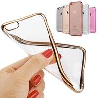 Wholesale I Phone Bumper Case - Glitter Bumper Silicone Case For iPhone 6 6S Plus Transparent Cover Luxury Capinha Coque Fundas i Phone Gold