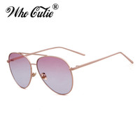 WHO CUTIE 2018 Womens Aviator Occhiali da sole in metallo Retro Vintage Fashion Cool Occhiali da sole Rosa Clear Lens Shades Oculos UV400 OM501