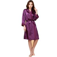 женская одежда для кимоно оптовых-Wholesale- Purple Hot Sale Summer Silk Chiffon Robe New Style Women's Kimono Bath Gown Lounge Nightgown Sexy Sleepwear One Size ZS034