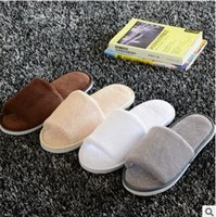 Wholesale Cloth Heels Wholesale - 7 colors Soft Hotel SPA Non-disposable Slippers Velvet Colored 7mm Thick Sole Casual Terry Cotton Cloth Spa Slippers, One Size Fits Most