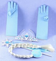 Wholesale Gloves Light Purple - Frozen Children Crown with Magic Wand Wig Glove Sets Rose Purple light Blue Hair Accessories Girls Birthday Party Supplies Christmas Toys