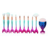 Wholesale 11 tool kit for sale - Group buy Professional Mermaid Makeup Brush Set Maquiagem Eyeshadow Foundation Blending Cosmetic Powder Contour Makeup Brush Tool