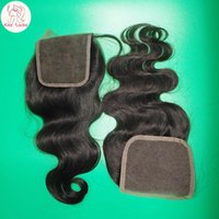 Wholesale Cheapest Prices - 8A Cheapest Virgin Peruvian Hair Swiss Lace Closure 4x4 Body Wave Texture Good price match bundles