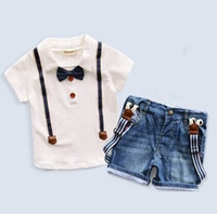 Wholesale Girls Denim Sleeveless Shirts - 2016 Summer Boy Clothing 2pcs Set Boys Bowknot T-shirt + Denim Suspender Trousers Outfits Kids Clothes Grid Outwear Skirt Suit K7643