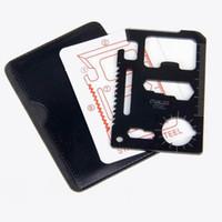 kostenloses kreditkartenmesser großhandel-Freies Verschiffen Mini-Edelstahl-multi Taschen-Kreditkarte Werkzeug bewegliche im Freien Überlebens-kampierende Wallten Werkzeug-Messer Sägen