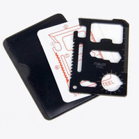 faca de cartão de crédito grátis venda por atacado-Frete grátis Ferramenta Mini Cartão de Crédito bolso multi aço inoxidável portáteis Outdoor Survival Camping Carteira Tools Faca Serras