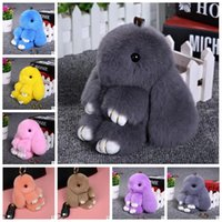 Wholesale bunny rabbit cartoon online - 18 Colors Cute Bunny Keychains cm Fluffy Pompom Fur Rabbit Keychain Llaveros Mujer Car Bag Pendants CCA7180