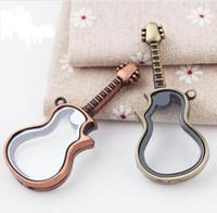 Wholesale Purple Locket Necklace - 10pcs 68x30mm Guitar glass floating locket purple bronze color locket pendant DIY jewelry wholesale free shipping