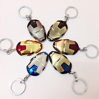 Wholesale Euro Key Chains - New Super Hero Keychains The Avengers Iron Man Mask Euro-American Hot Movie Key Chains Jewelry Key Ring Key Holder with Retail packaging