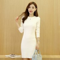 Wholesale Sexy Crochet Dresses For Women - Black Korean Fashion Slim Knitting Long Sweaters For Women White Sexy Hollow Out Long Sleeve Sweater Dresses Knitwear One Size
