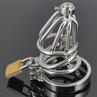 Wholesale Master Sm - Stainless Steel Chastity Cage with Hollow Removable Urethral Insert Tube Barbed Anti-off Ring Master Bondage Gear SM Bondage Hood Device