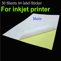Wholesale A4 Paper Labels - 50 Sheets A4 Self-adhesive Sticker Label A4 Label Sticker Matte Surface paper For Inkjet Printer Accept Custom Order
