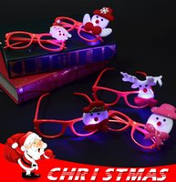 Wholesale funny eye glasses - Funny Cartoon Christmas LED Glasses Flashing Eye cartoon Glasses Frame Christmas Toys Xmas Party Props Decoration IB495