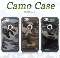 Wholesale Iphone Cases Army - Army Camo Case Luxury Camouflage Hybird Armor Shockproof Impact 2 in 1 PC & TPU Cover For iPhone 6 7 Plus Galaxy S7 Edge