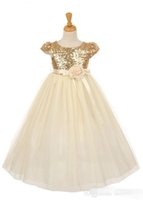 Wholesale Cheap Children Pageant Dresses - 2016 Sequins Girls Pageant Dresses Rose God Cap Sleeve Ball Gown Princess Cheap Flower Girls Gowns Wedding Party Wear Dress For Child Teens