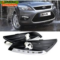 Wholesale Ford Drl Kit - eeMrke Car LED DRL For Ford Focus 3 MK3 High Power Xenon White Fog Cover Daytime Running Lights Kits