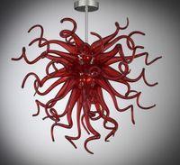 ingrosso catene di luci di pendente-Modern Modern Design Home Art Decoration Lighting Lampadario in vetro soffiato a mano rosso soffiato a mano in vetro di Murano