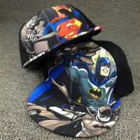 Wholesale Hat Child Supermen - Kids Baseball Cap Fashion Iron Man Captain Superman Batman Spider-Man 3D printed Snapback Caps Children Boys Hip Hop Hat