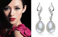 Wholesale Purple Black Pearl Earrings - New AAA+ Rhinestones Flame Natural Pearl Earrings Dangle white purple black pink 4 colors for choices