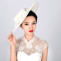 Wholesale Vintage Lace Headdress - 2016 New Bridal Hats Handmade Gauze Lace Flower Vintage Elegant Hair Headdress Wedding Hat Bride Luxury Wedding Accessories