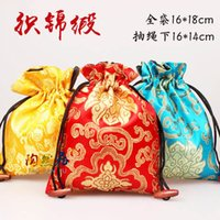 Wholesale Wholesale Halloween Trinkets - Classic Floral Large Jewelry Gift Bags Cloth Art Chinese Silk Drawstring Packaging Bead Necklace Bracelet Trinket Storage Pouch