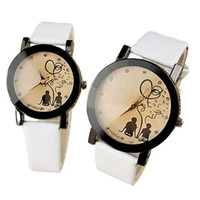 Wholesale New Pair Couple Watch - New Fashion 1 Pair Woman Man Watch PU Leather Belt Watches Casual Couples Watches Relogio Feminino Clock Relogios Feminino