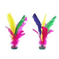 volant à plumes achat en gros de-1 Pcs Feather Chinese Jianzi Hacky Sack Foot Sports Game Kicking Shuttlecock