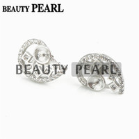 Bulk of 3 Pairs Pearl Earring Configurações Symmetrical Half Cut Heart 925 Sterling Silver Zircon Stud Earring Findings