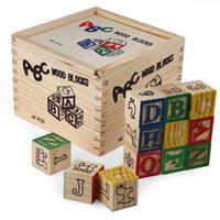 Wholesale Kids Alphabet - 48pcs Vintage Alphabet Wood Blocks Kids Educational Building Wooden Toy Gift Baby Toys Alphabet Building Blocks Pouch Birthday Gift