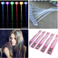 Wholesale Asian Wholesale Extensions Hair - Luminous Light Up LED Hair Extension Flash Braid Party girl Hair Glow by fiber optic For Party Christmas Halloween Night Lights Decoration
