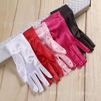Wholesale Red Short Satin Gloves - Hot Sale In Stock Free Shipping Colorful Bridal Gloves Full Finger Wrist Length Satin Short Wedding Gloves