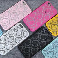 Wholesale Iphone Case Hybrid Vintage - For Iphone 7 7plus Vintage Lace Flower Hollow Pattern Hybrid PC + TPU Case Cover For Iphone 6 6s 6plus 5S