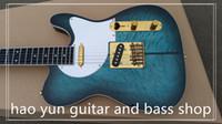 ingrosso chitarra elettrica oro verde-Chitarra elettrica chitarra a cane TL / colore verde scoppiato con hardware oro chitarra / chitarra in ottone ebano per tastiera in porcellana