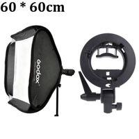 "Wholesale Cm Photo - Wholesale- Godox Studio Photo Flash Softbox Light Kit 60 x 60cm   24"" * 24"" + S Type Bracket Bowens Mount Speedlite Soft Box 60x60 cm Set"