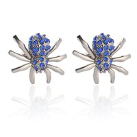 Wholesale party shirts for men - Spider Men's Shirt Cufflinks Metal Alloy Men Blue Crystal Cuff Links For Wedding Party Fashion Simple Men Sleeve Shirt Cufflink 0903822-6