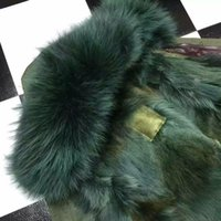 Wholesale Leather Fur Trim - 2018 extravagant Green fur green parka Mr & Mrs furs wolf fur mini jackets Mr & Mrs Itlay lined trim Canvas parka with wolf Fur lined
