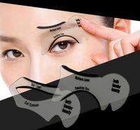 kedi göz araçları toptan satış-DHL Ücretsiz Nakliye 2 adet / takım Kedi Göz Şablonlar Makyaj Stencil Eyeline Modelleri Şablon Eyeliner Kart Yardımcı moda kız Dumanlı Eyeliner Aracı