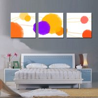 Wholesale Original Oil Paintings Modern - 3 Pieces Original Abstract geometric patterns drawing modern geometry yellow, grey, red art wall in Home decoration painting