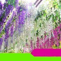 suni çiçekler ipek mor toptan satış-Beyaz Yeşil Mor fuşya Yapay Çiçekler Simülasyon Wisteria Vine Düğün Süslemeleri Uzun Kısa Ipek Bitki Buket Odası Ofis Bahçe